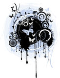 Abstract grunge. Background with butterflies, drips and splats Stock Photos