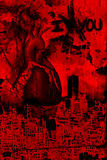 Abstract Grunge Art Representation of Broken Heart. Red and Black grunge abstract art, representative of a broken heart. Collage of city buildings, heart and Royalty Free Stock Photography