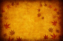 Abstract grunge autumn background with leaves. Abstract yellow grunge autumn background for multiple uses Stock Photo