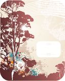Abstract grunge background. With trees silhouette with frame for text Royalty Free Stock Images