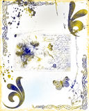 Abstract grunge background. With splatters, scrathes, and stains, text, and filigree stock illustration