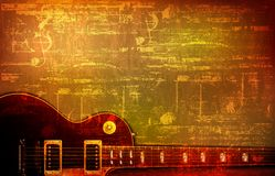 Abstract grunge background with acoustic guitar. Abstract brown grunge vintage sound background classic electric guitar vector illustration Stock Illustration