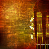 Abstract grunge background with acoustic guitar. Abstract brown grunge vintage sound background acoustic guitar Vector Illustration