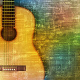 Abstract grunge background with acoustic guitar. Abstract green music grunge background acoustic guitar vector illustration Vector Illustration