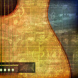 Abstract grunge background with acoustic guitar. Abstract green grunge vintage sound background with acoustic guitar Royalty Free Stock Image