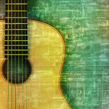 Abstract grunge background with acoustic guitar. Abstract music grunge green vintage background acoustic guitar vector illustration Vector Illustration