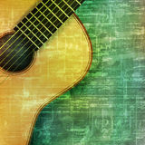 Abstract grunge background with acoustic guitar Royalty Free Stock Image