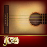 Abstract grunge background with acoustic guitar. Abstract grunge music background with acoustic guitar and word jazz Royalty Free Stock Photos