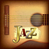 Abstract grunge background with acoustic guitar. And word jazz Royalty Free Stock Photo