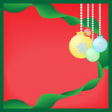 Abstract grunge background with Christmas balls and ribbon Stock Images