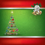 Abstract grunge background with Christmas tree. And hand bells Royalty Free Stock Photography