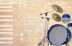Abstract grunge background with drum kit. Abstract beige grunge background with drum kit vector illustration Stock Image