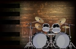 Abstract grunge background with drum kit Royalty Free Stock Images