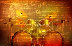 Abstract grunge background with drum kit Stock Image