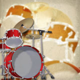 Abstract grunge background with drum kit on brown. Abstract grunge background with red drum kit on brown Stock Photos
