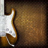 Abstract grunge background with electric guitar. Abstract grunge brown background with electric guitar Royalty Free Stock Photography