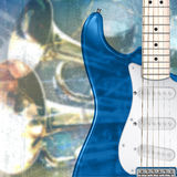 Abstract grunge background with electric guitar. Abstract blue grunge music background with electric guitar Royalty Free Stock Photo
