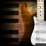 Abstract grunge background with electric guitar. Abstract brown grunge music background with electric guitar Stock Photos