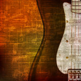 Abstract grunge background with electric guitar Stock Photography