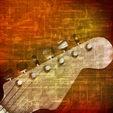 Abstract grunge background with electric guitar. Abstract brown grunge vintage sound background with guitar vector illustration