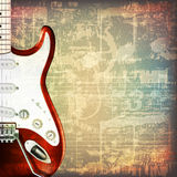 Abstract grunge background with electric guitar. Abstract grunge cracked music symbols vintage background with electric guitar Stock Photography