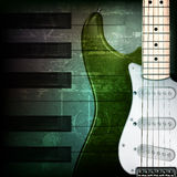 Abstract grunge background with electric guitar. Abstract dark green grunge background with electric guitar Stock Photography