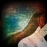 Abstract grunge background with electric guitar. Abstract music grunge vintage sound background with electric guitar Royalty Free Stock Photo
