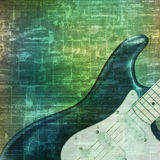 Abstract grunge background with electric guitar. Abstract music grunge vintage sound background electric guitar vector illustration Royalty Free Stock Images