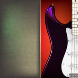 Abstract grunge background with electric guitar. On red stock illustration