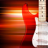 Abstract grunge background with electric guitar. Abstract red blur music background with electric guitar Stock Photo