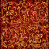 Abstract grunge background with floral ornament Royalty Free Stock Images