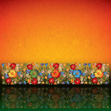 Abstract grunge background with floral ornament Stock Photography