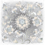 Abstract grunge background with floral ornament. Abstract grunge white background with floral ornament Royalty Free Stock Images