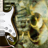 Abstract grunge background guitar and musical inst Stock Image