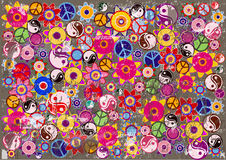 Abstract grunge background with hippies icons. Colorful retro abstract background with grunge hippies symbols and flowers Royalty Free Stock Images