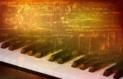 Abstract grunge background with piano keys Stock Photos