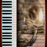 Abstract grunge background with piano and trumpet Stock Photography