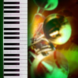 Abstract grunge background with piano and trumpet Royalty Free Stock Photography