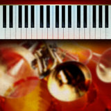 Abstract grunge background with piano and trumpet Royalty Free Stock Image