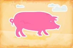 Abstract grunge background with pig and clouds Royalty Free Stock Photography