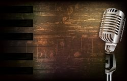 Abstract grunge background with retro microphone Stock Photos