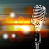 Abstract grunge background with retro microphone Stock Images