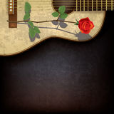 Abstract grunge background with rose and guitar Royalty Free Stock Image