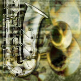 Abstract grunge background saxophone and musical instruments Royalty Free Stock Images