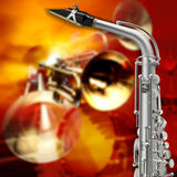 Abstract grunge background saxophone and musical instruments Stock Photo