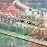 Abstract grunge background with saxophone and piano keys Stock Photography