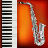 Abstract grunge background with saxophone and piano Royalty Free Stock Photos