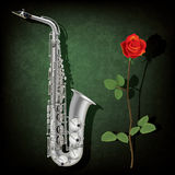 Abstract grunge background with saxophone and rose. Abstract grunge green background with saxophone and rose Royalty Free Stock Images