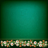 Abstract grunge background with spring floral ornament. On green stock illustration