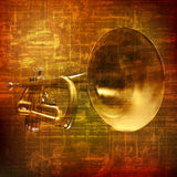 Abstract grunge background with trumpet Royalty Free Stock Images